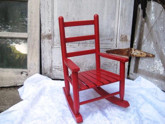 Child Red Rocking Chair ~ Cherry red childs rocking chair childrens rocker vintage