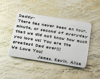 Personalized Wallet Insert Alloy Wallet Insert Card Alloy Wallet Insert,Gift for Father,Boyfriend,Husband Christmas Gift