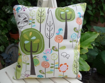 Handmade Cute Mini Cushion with Little Birds and Snails in the Woods