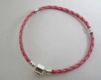 Rose Petal Pink Leather Wrap Bracelet Bangle Charm