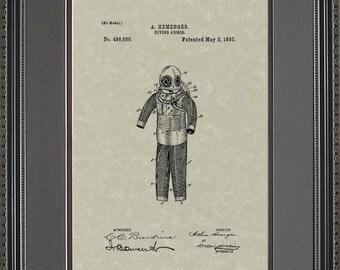 Diving Suit Patent Artwork Scuba Diver Scuba Diving Gift H6686