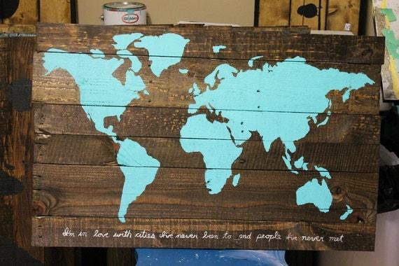 Livraison gratuite palette bois repurposed voyage carte - Cherche palettes bois gratuites ...