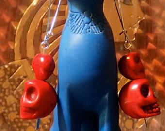 Blood red double skull earrings