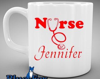 Nurse Coffee Mug, Personalized Nurse ceramic Coffee Cup MUG-049