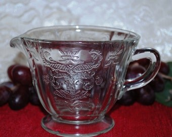 Federal Glass Co. Madrid Pattern Clear Glass Footed Creamer