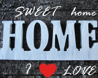 Wood LETTERS HOME wooden sweet, wood decor, wedding sing, wood name