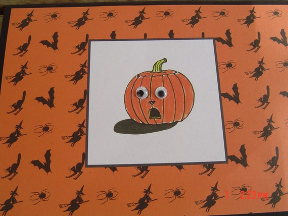 orange card black white bats witches spiders  anyone OOAKHandmade card