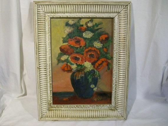 Beautiful Vintage Impressionist Van Gogh Style Wood Framed Red Poppy Floral Painting Artist Signed