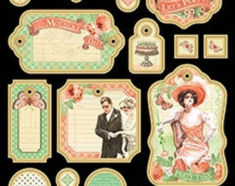 Graphic 45 Time to Celebrate Collection Chipboard Tags