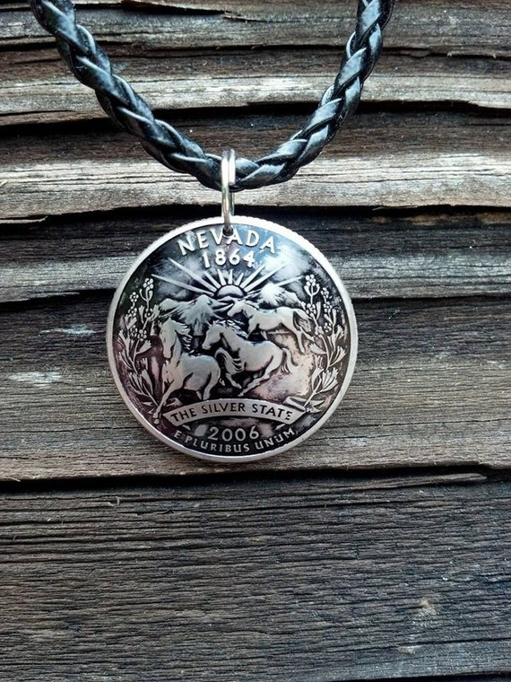 domed nevada quarter pendant coin jewelry with horses
