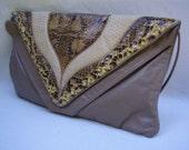 Vintage 1970's Snake Skin Cobra Python Clutch shoulder Evening Bag handbag
