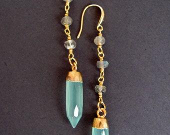 Labradorite Earrings with Blue Chalcedony and Gold Vermeil/Spike Earrings/Aqua Chalcedony/Point/Powder Blue/Vermeil Jewelry/Labradorite Drop