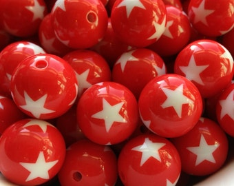 20mm Red Star Print Beads