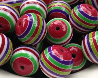 20mm Pink, Purple, Green & White Striped Beads