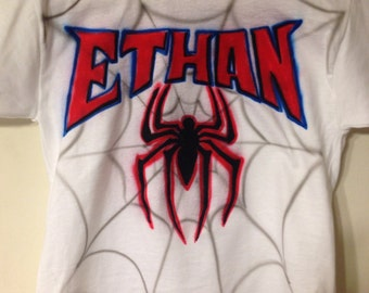 Personalized Kid's Spider-Man Inspired Airbrushed T-shirt