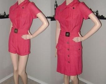 Vintage Hot PANTS Pink ROMPER 60s Work Suit Office Wear Sexy Shorts & Skirt 2 Pc Suit Work Dress Twiggy 1960s Mod Mad Men Fashion Jump Suit