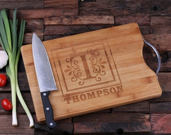 Personalized Wood Cutting Chopping Board Engraved and Monogrammed with Steel Handle Grip  Not Cheap Looking (024187)