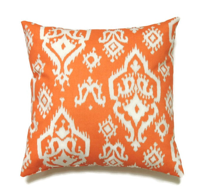 22x22 Throw Pillow Covers : Orange Ikat Pillow 22x22 Pillow Cover Decorative by ThePillowToss