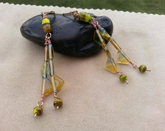 Earrings, blue and yellow glass beads