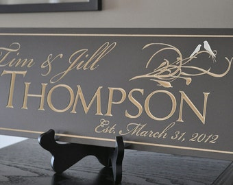 Personalized Family Sign  8 x 24 inches