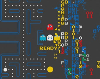 Split Screen in Pac Man Counted Cross Stitch Pattern Instant Download