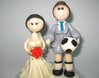 Sports wedding cake topper / football cake topper / custom wedding cake topper / soccer cake topper