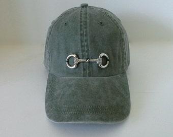Equestrian Bling Snaffle D Bit Olive Baseball  Cap -  Horse Lovers Bit Ball Cap