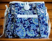 Handmade Convertible Tote Handbag - Heavyweight Quilted Cotton Exterior - Double Front Pockets - Blue/Navy/White White Print - FAAP, HAFAIR