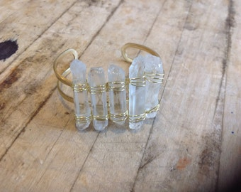 Wire-wrapped Quartz Crystal Point Bracelet