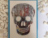 Blue Skull Greetings Card