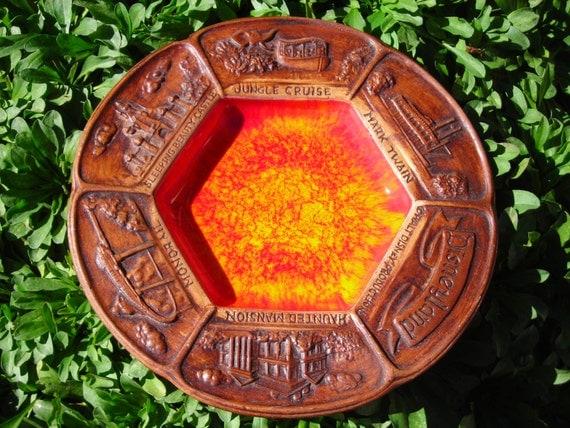 Vintage Disneyland Orange And Brown Ceramic Plate Or Ashtray
