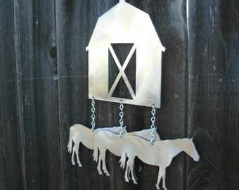 Barn and Horses Wind Chime