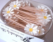30 PCS - Daisy Party Picks, Cupcake Toppers, Toothpicks, Food Picks (pure white)