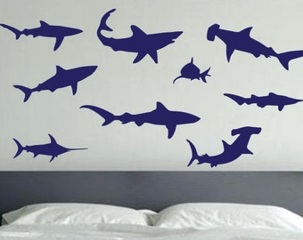 Shark Die Cut Vinyl Wall Decals. Kids Room Decor Part 7