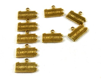6x Brass Engraved Pennsylvania State Charms - M057-PA