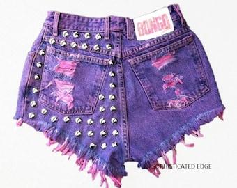 Purple Studded High Waist Denim Shorts/ Plus Size Available!
