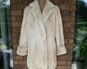 Beautiful Vintage Beige Oyster Sheared Beaver Fur Jacket Coat Stroller