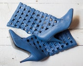 KARMATON boots   Vintage 1980s blue cage boots   Women's leather calf boots
