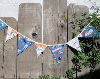 Whimsical Little Boy's Dreams Bunting  Shabby Chic OOAK