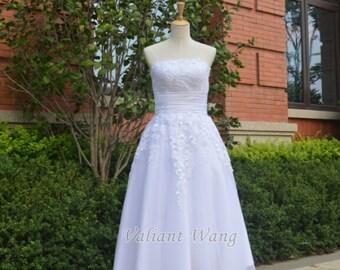 Lace Tulle Wedding Dress Tea Length Short Dress For Outdoor Wedding