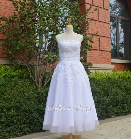 Iya Wedding Gown: Lace Tulle Wedding Dress Tea Length Short Dress For By