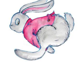 Rabbit art print. Run Rabbit Run: from an original drawing by Annie Taylor