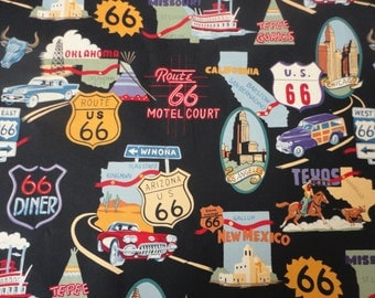 "1/2 yard of 100% cotton ""Route 66"" Fabric"