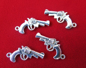 "10pc ""Pistol"" charms in antique silver style (BC55)"
