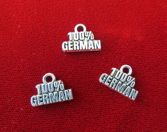"3pc ""100% german"" charms in antique silver style (BC297)"