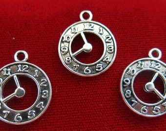 """10pc """"clock"""" charms in antique style silver (BC357)"""