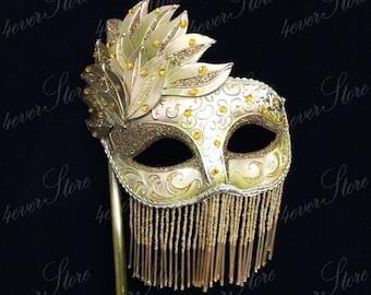 Glamorous Beaded Fringe Masquerade Mask, Mardi Gras Fringe Mask with Handheld Stick, Mask with/ Beaded Fringe, Fringe Dress, [GOLD]