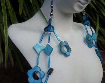 Handmade blue shell earrings #00E6