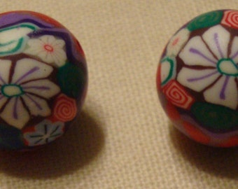 10 large polymer clay beads 16mm flower design