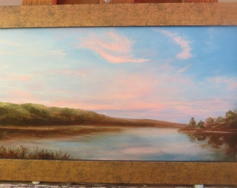 A Bird and a Fish Clouds Sunset Original Oil Painting Maine